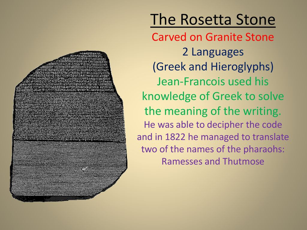 Explain how the Rosetta Stone helped solve the meaning of