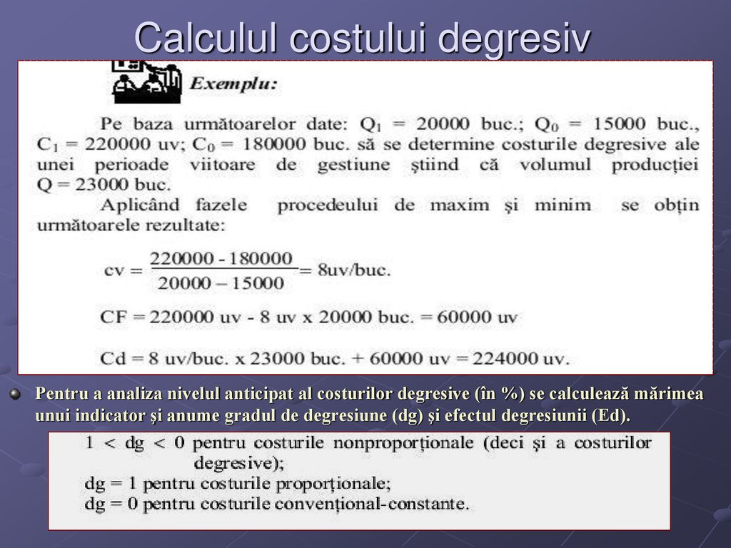 exemplu de calcul al costului opțiunii)