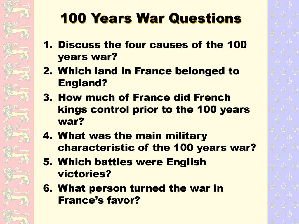 The Hundred Years' War ( )  - ppt download