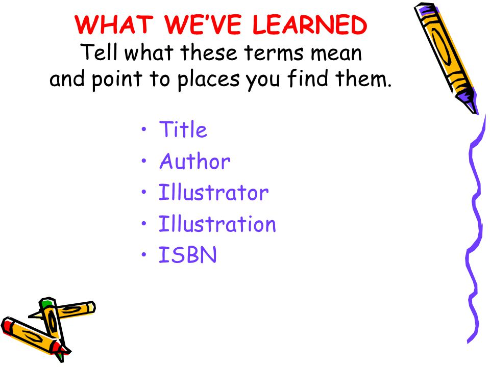 WHAT WE'VE LEARNED Tell what these terms mean and point to places you find them.
