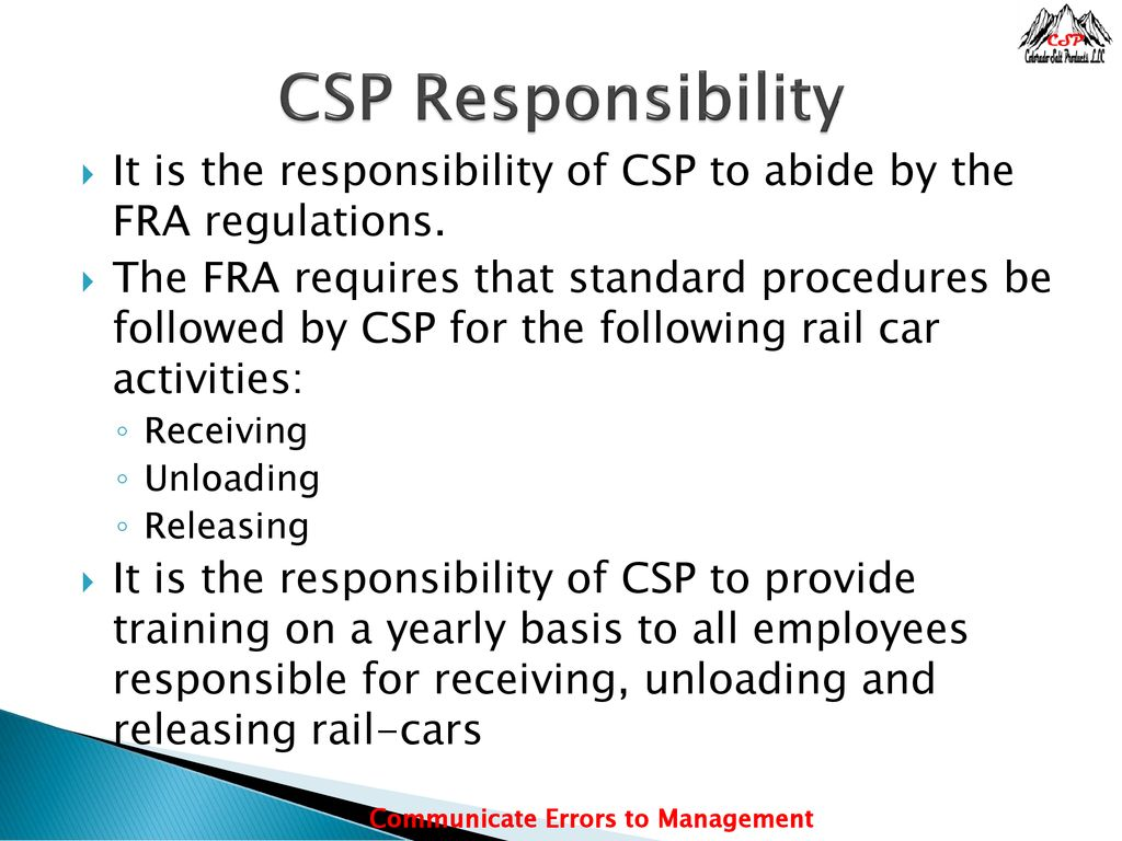 DOT Rail Car Procedure The Federal Railroad Administration