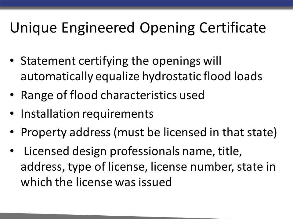 Unique Engineered Opening Certificate