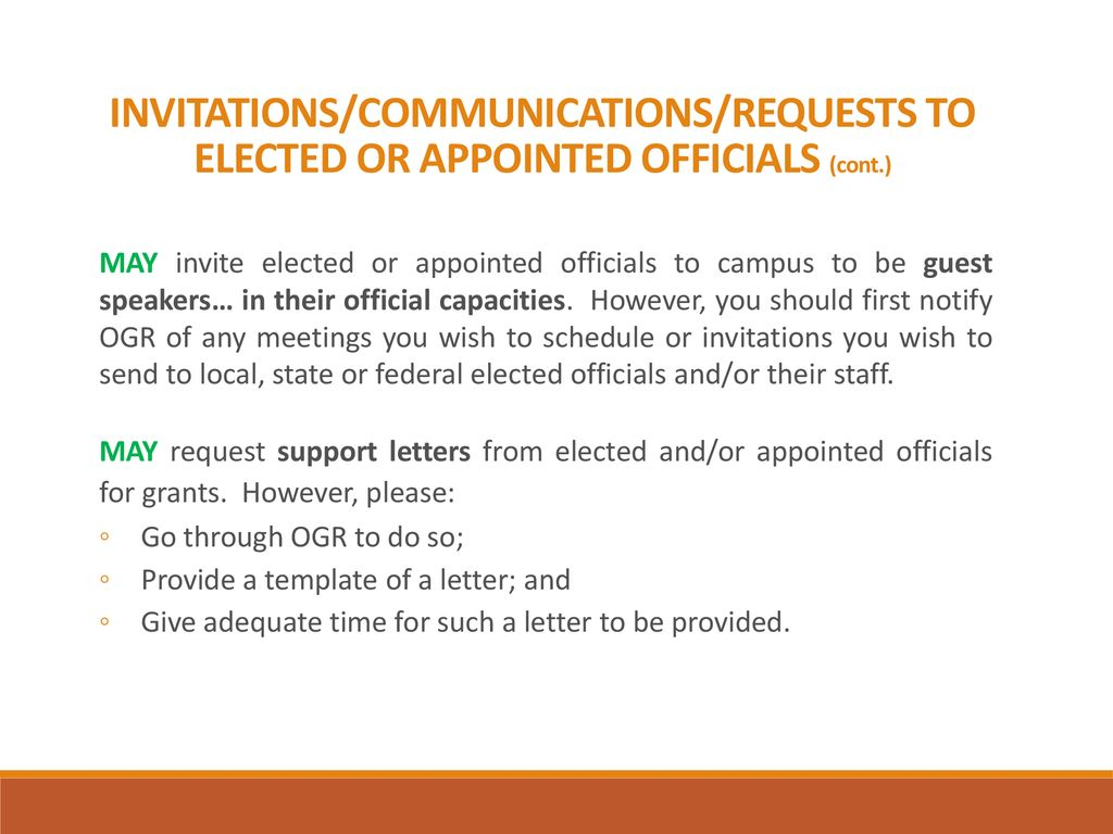 invitationscommunicationsrequests to elected or appointed officials cont