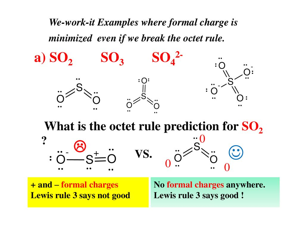 a) so2 so3 so42- what is the octet rule prediction for so2