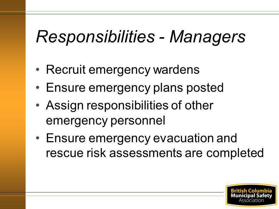 Responsibilities - Managers