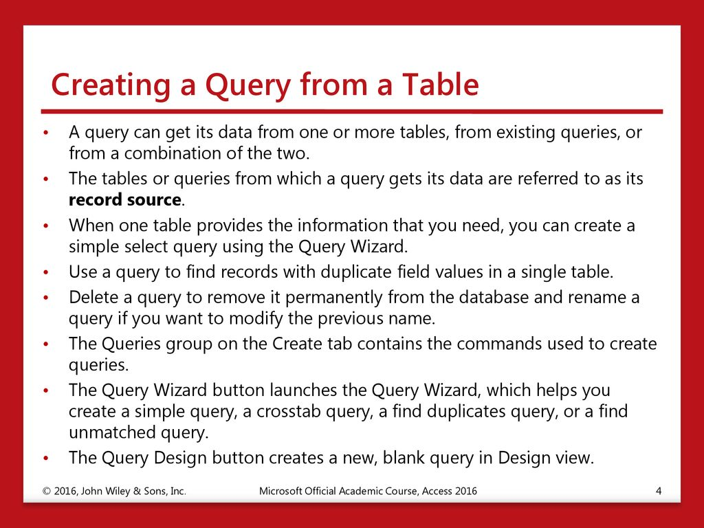 Creating and Modifying Queries - ppt download