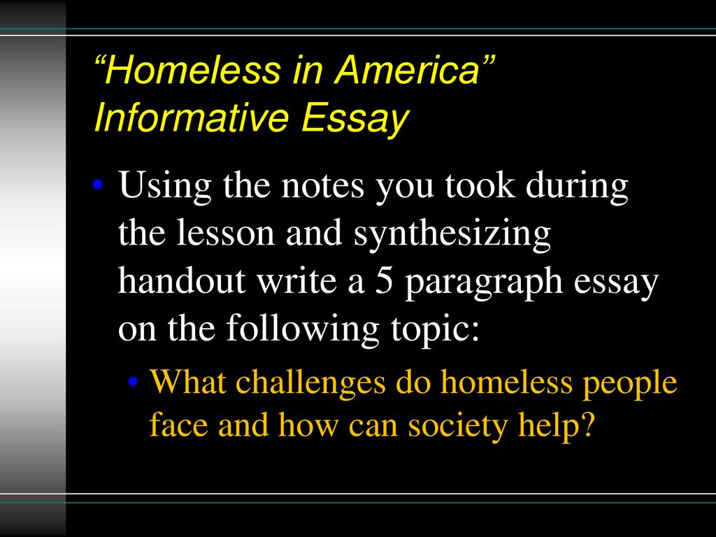 Argumentative Essay Topics For High School  Homeless In America Informative Essay Essay Proposal Format also Essay On Importance Of Good Health  Minutes Of Independent Reading  Ppt Download Thesis Statement Generator For Compare And Contrast Essay