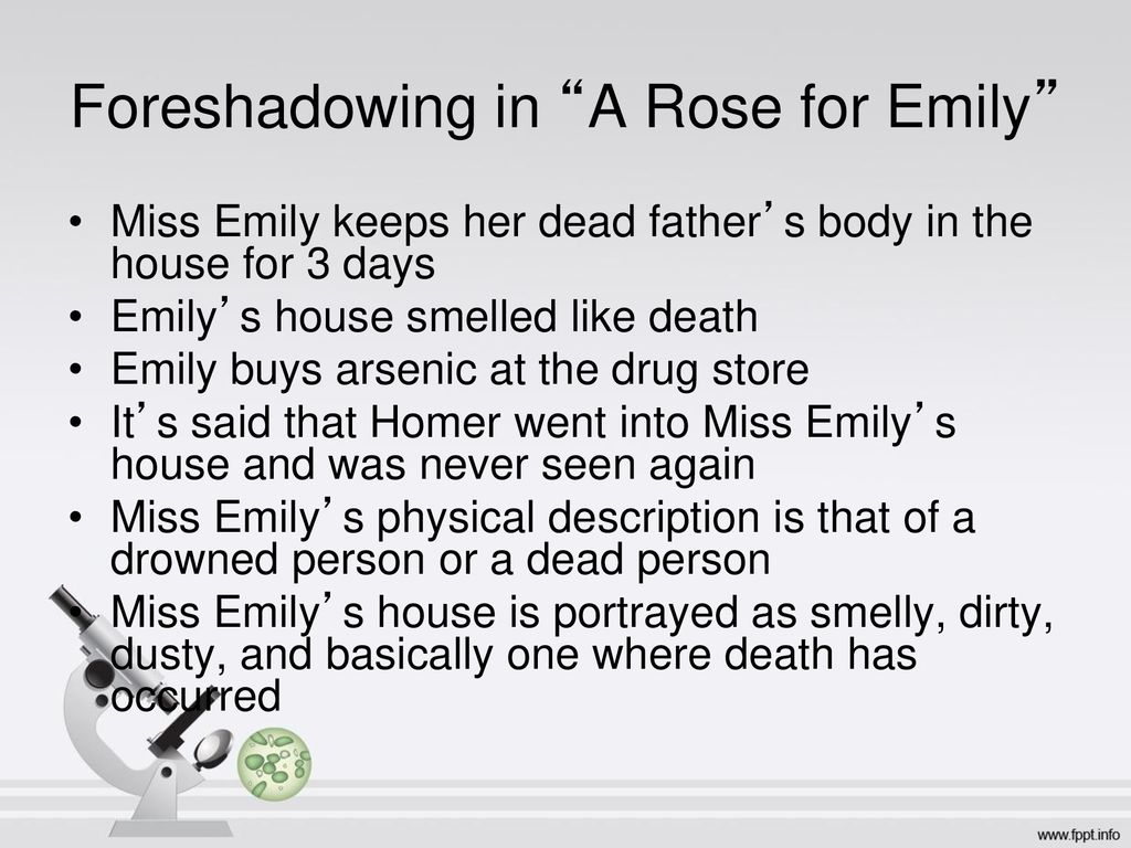 examples of foreshadowing in a rose for emily