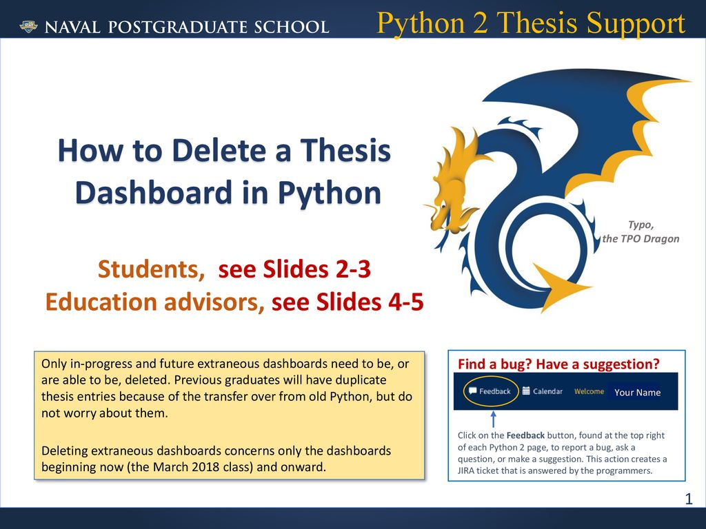 How to Delete a Thesis Dashboard in Python - ppt download