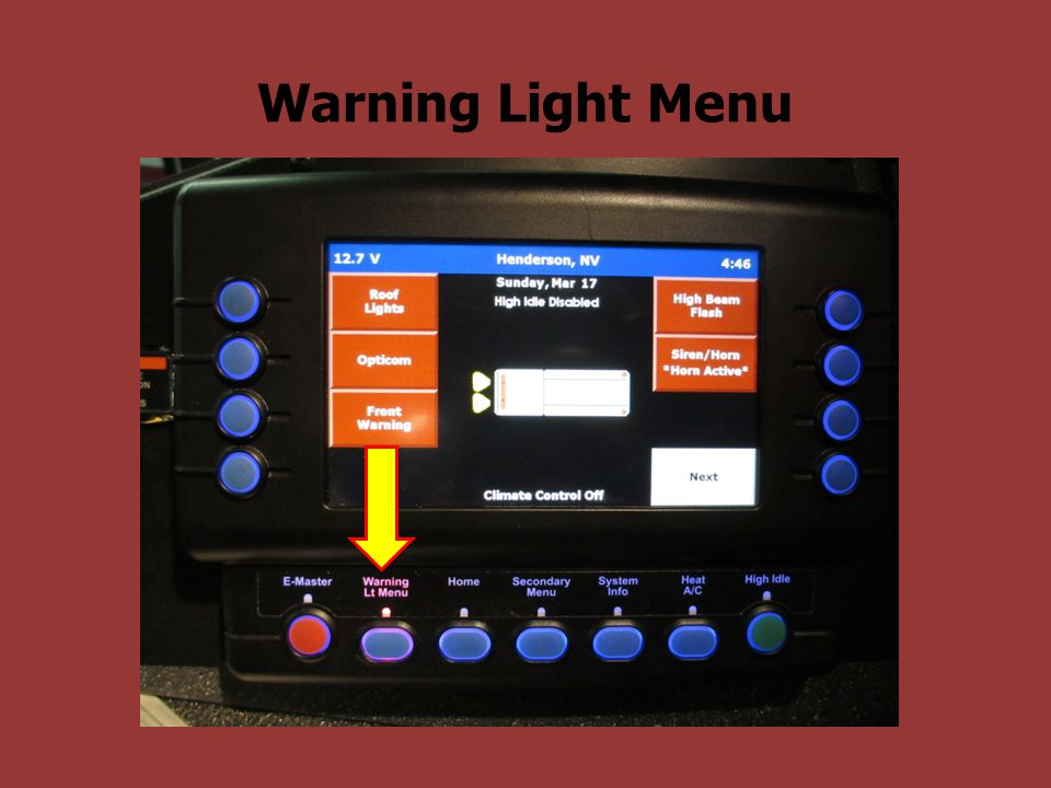 Warning Light Menu
