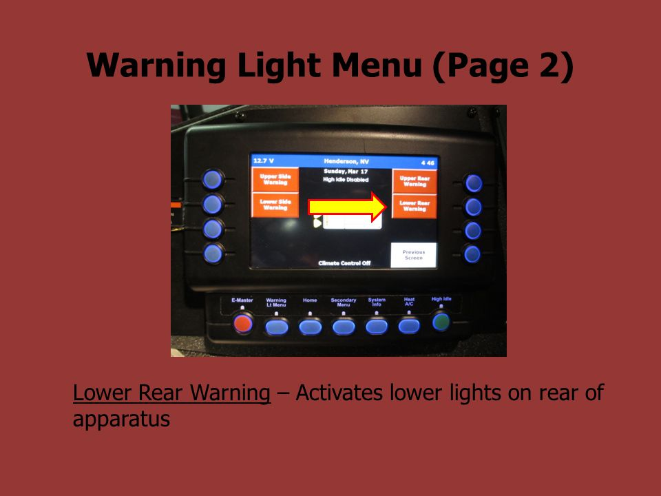 Warning Light Menu (Page 2)