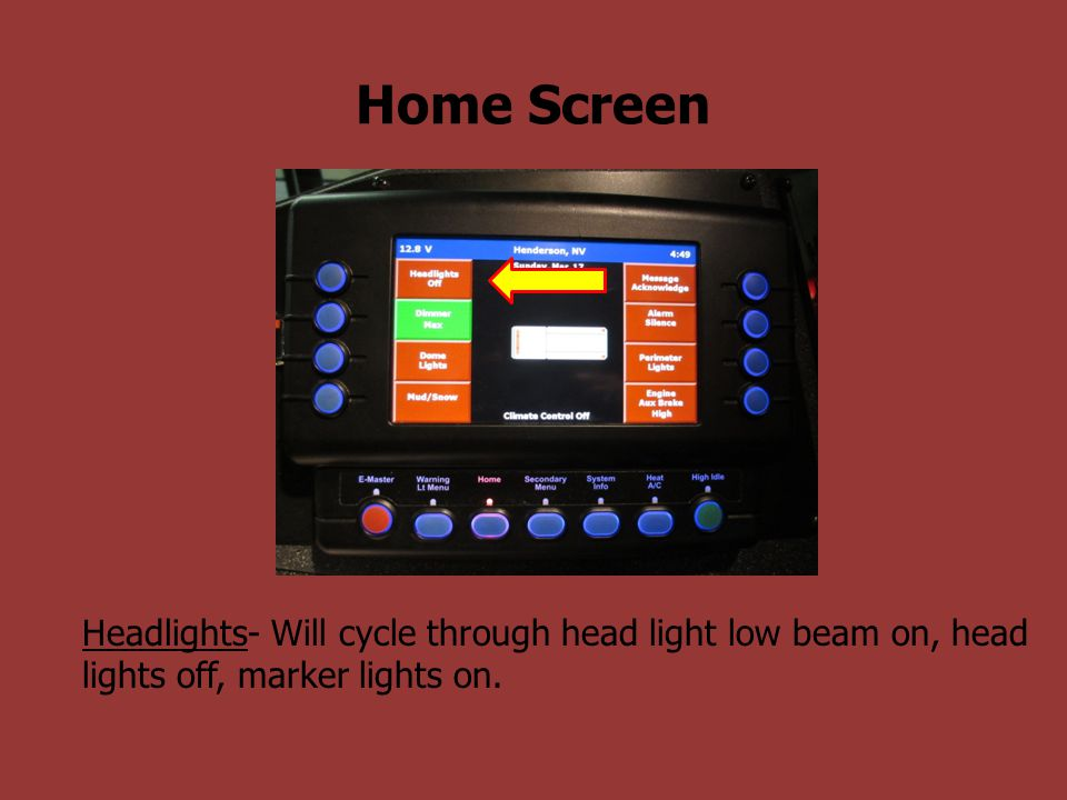 Home Screen Headlights- Will cycle through head light low beam on, head lights off, marker lights on.