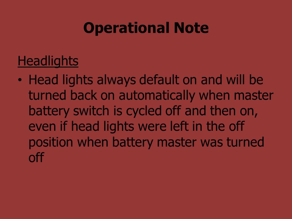 Operational Note Headlights