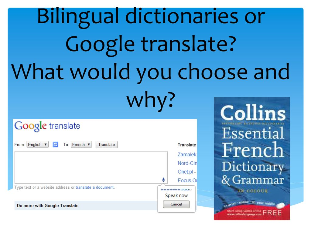 Bilingual dictionaries or Google translate - ppt download