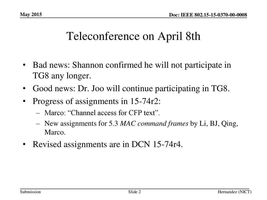 Teleconference on April 8th