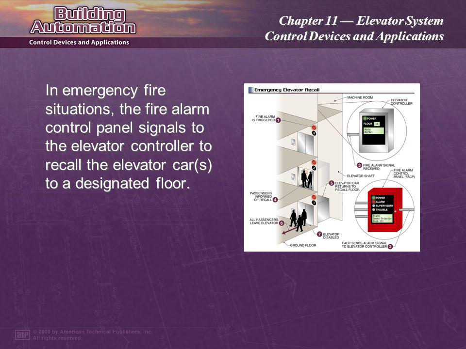 in emergency fire situations, the fire alarm control panel signals to the  elevator controller to