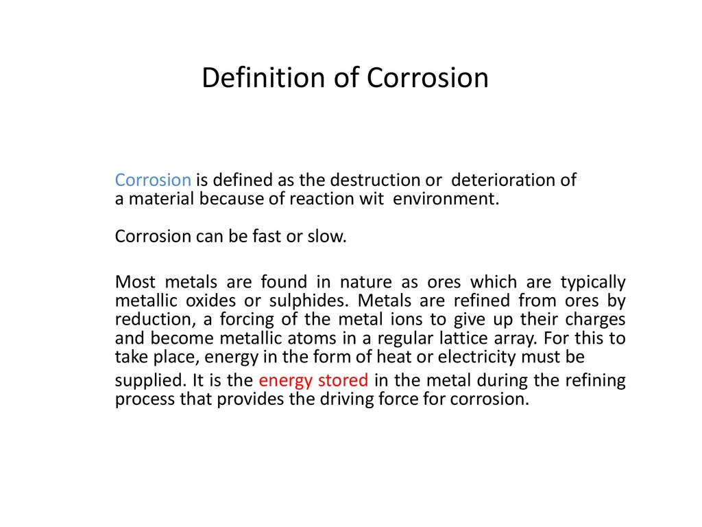 definition of corrosion - ppt download