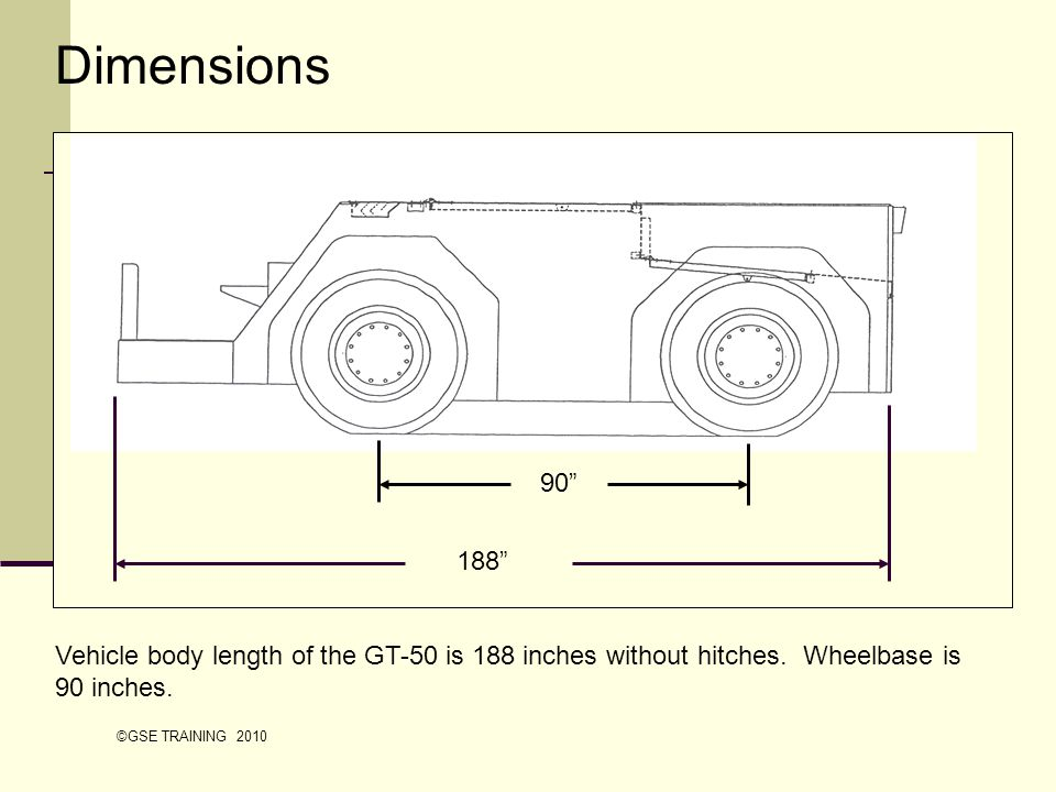 Dimensions Vehicle body length of the GT-50 is 188 inches without hitches. Wheelbase is 90 inches.
