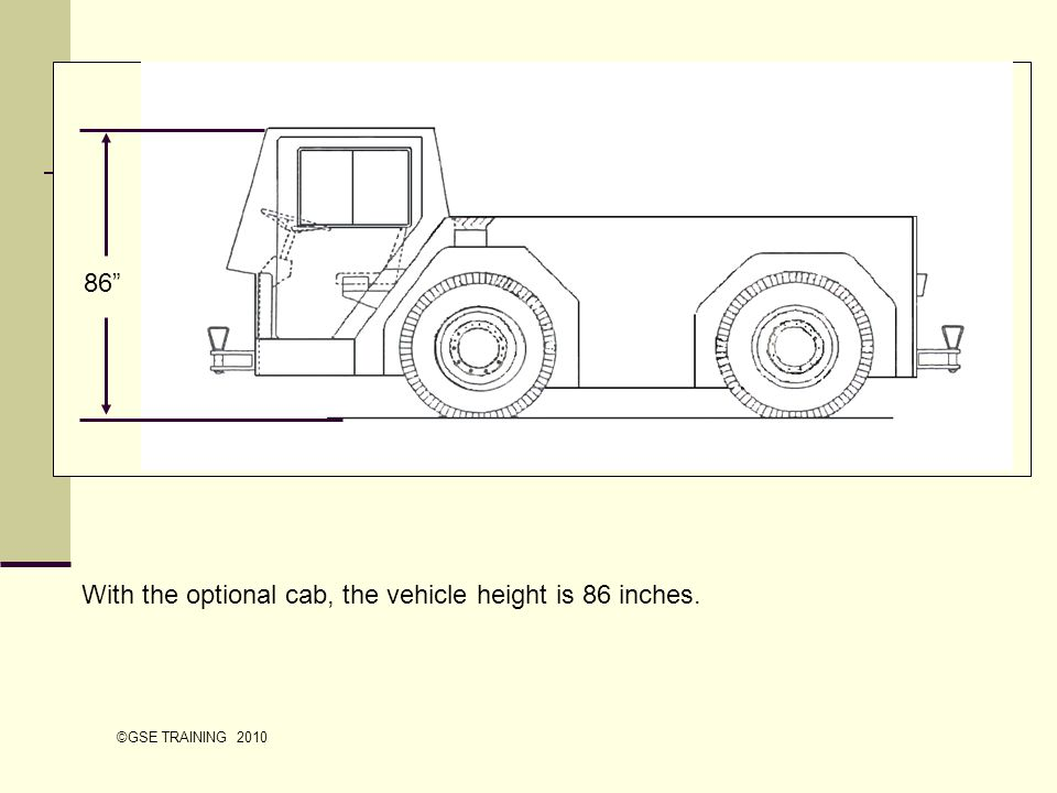 With the optional cab, the vehicle height is 86 inches.