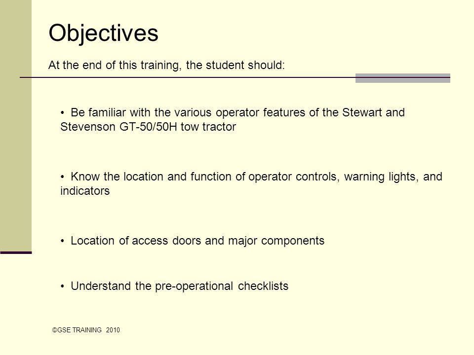 Objectives At the end of this training, the student should:
