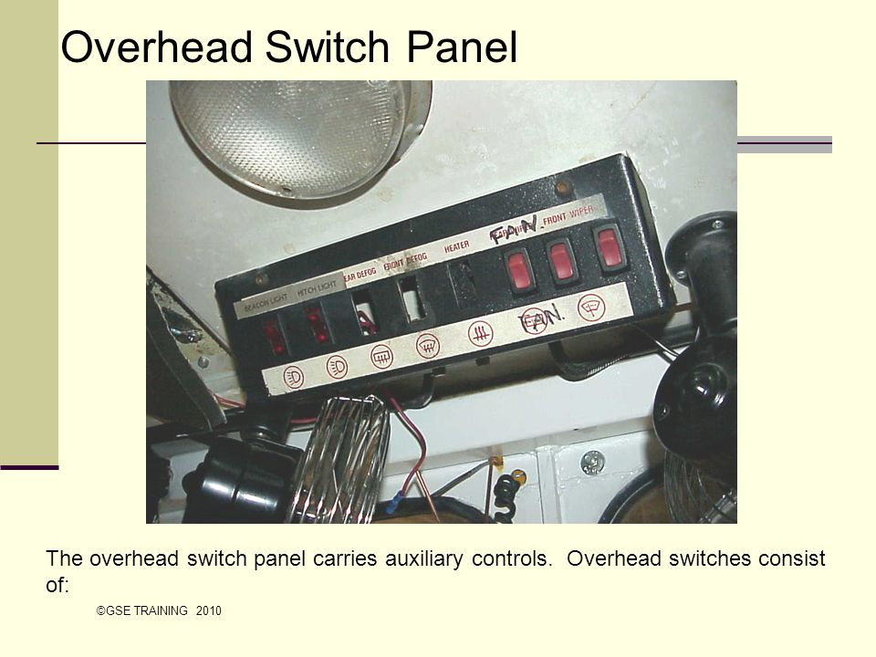 Overhead Switch Panel The overhead switch panel carries auxiliary controls. Overhead switches consist of: