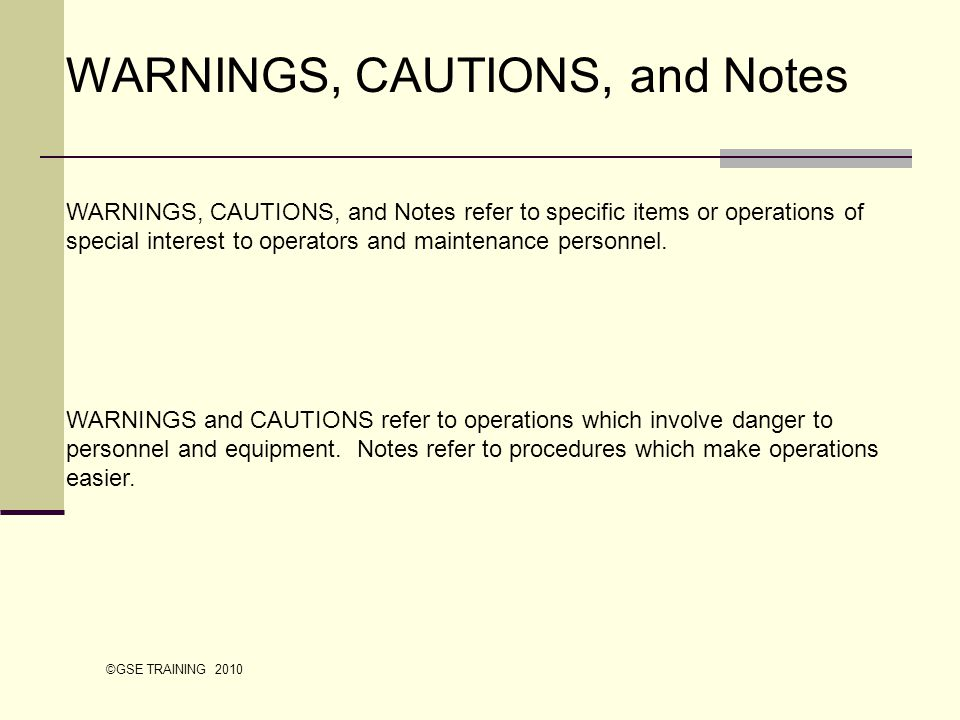 WARNINGS, CAUTIONS, and Notes