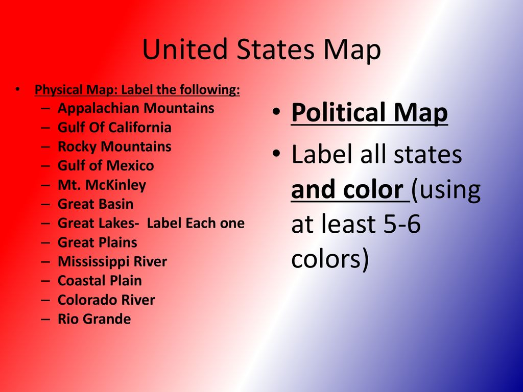 United States Map Political Map Ppt Download