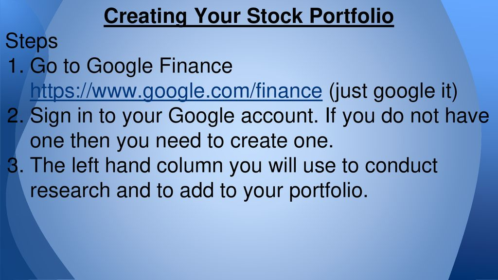 Stock Market Portfolio Research and Creation - ppt download