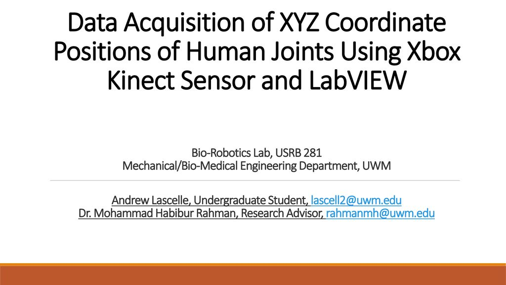 Data Acquisition of XYZ Coordinate Positions of Human Joints Using