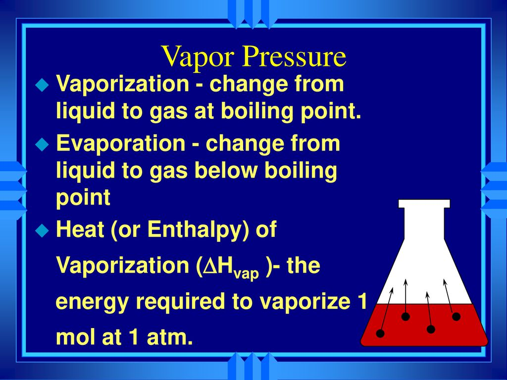 Vapor Pressure Vaporization - change from liquid to gas at boiling