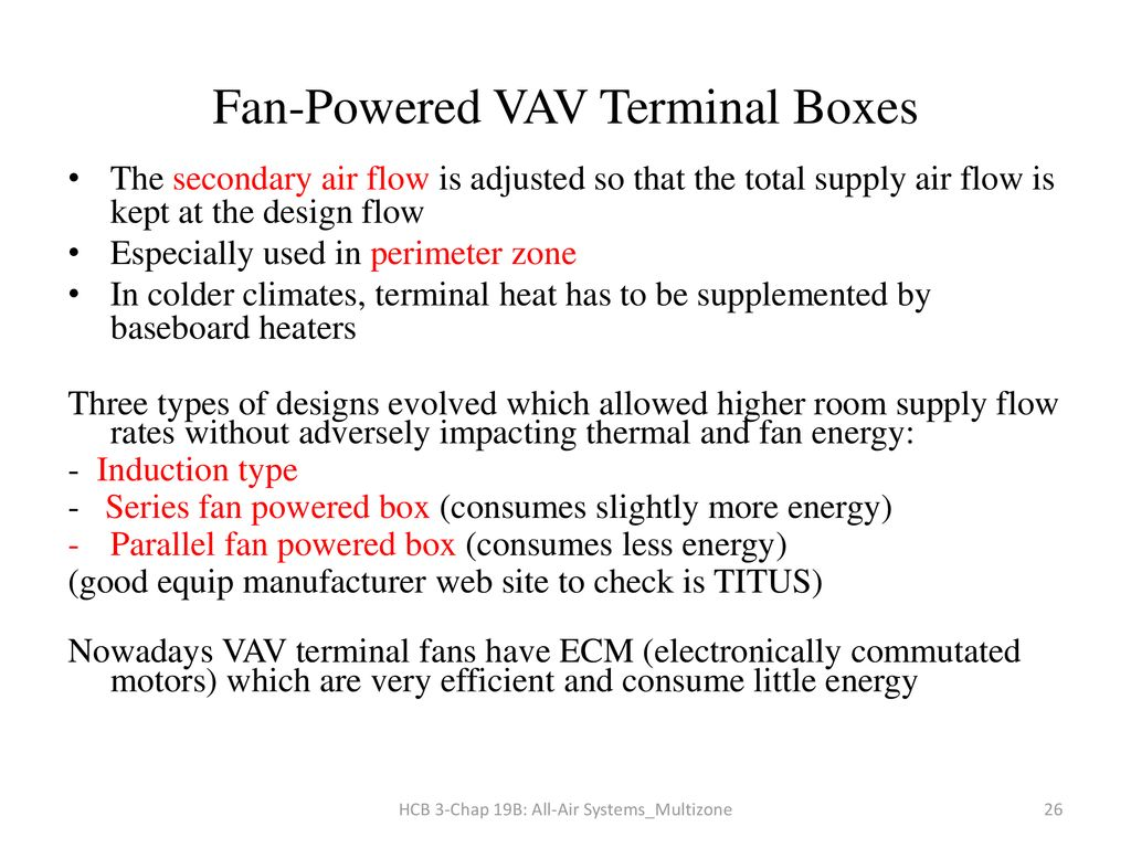 Chapter 19b All Air Systems For Multiple Spaces Ppt Download Ecm X13 Motor Wiring Diagram 26 Fan Powered