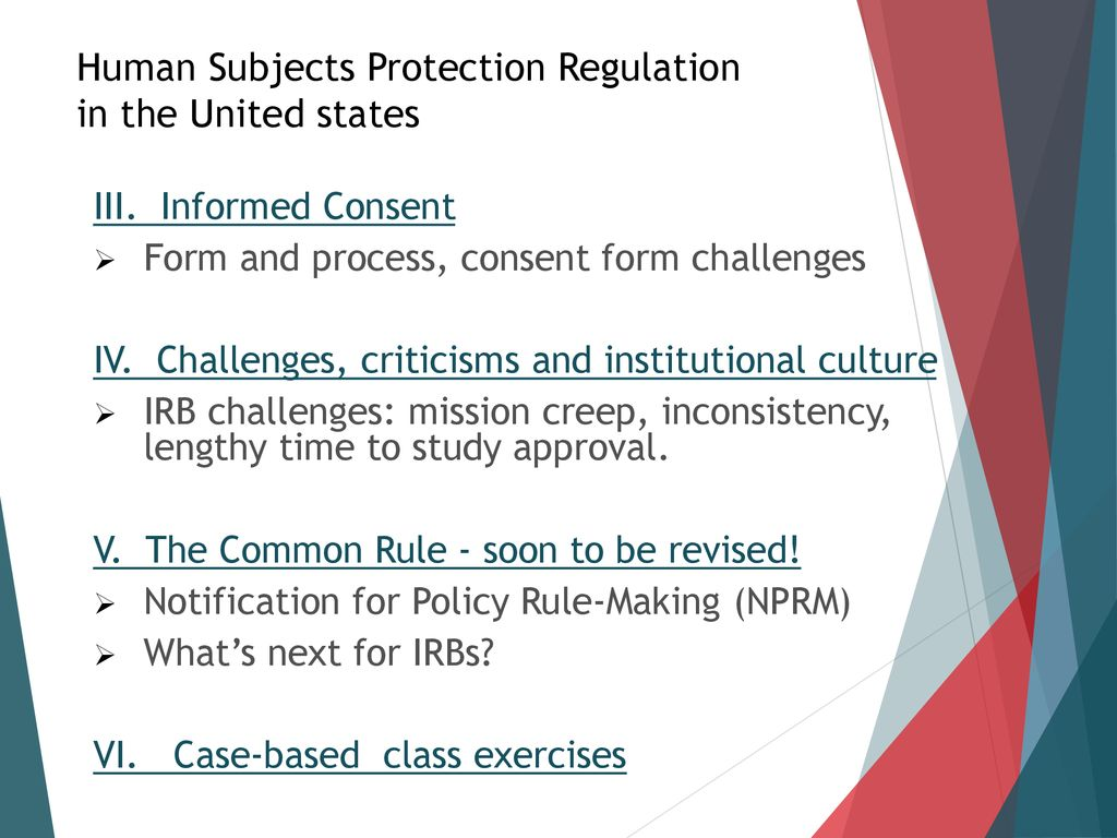 Human Subjects Protection Regulation in the United States