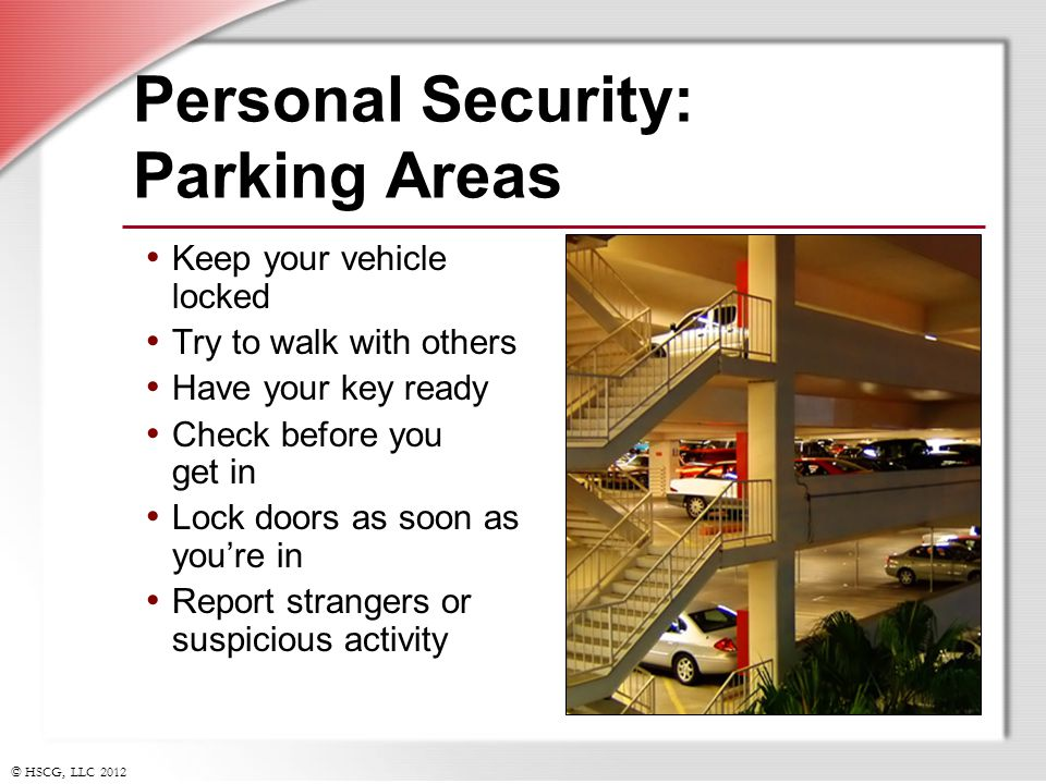 Personal Security: Parking Areas