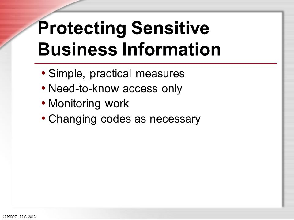Protecting Sensitive Business Information