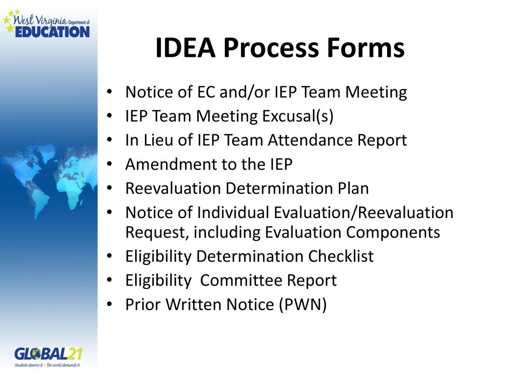 Idea And Iep Process >> The Individuals With Disabilities Education Act Idea Process Forms