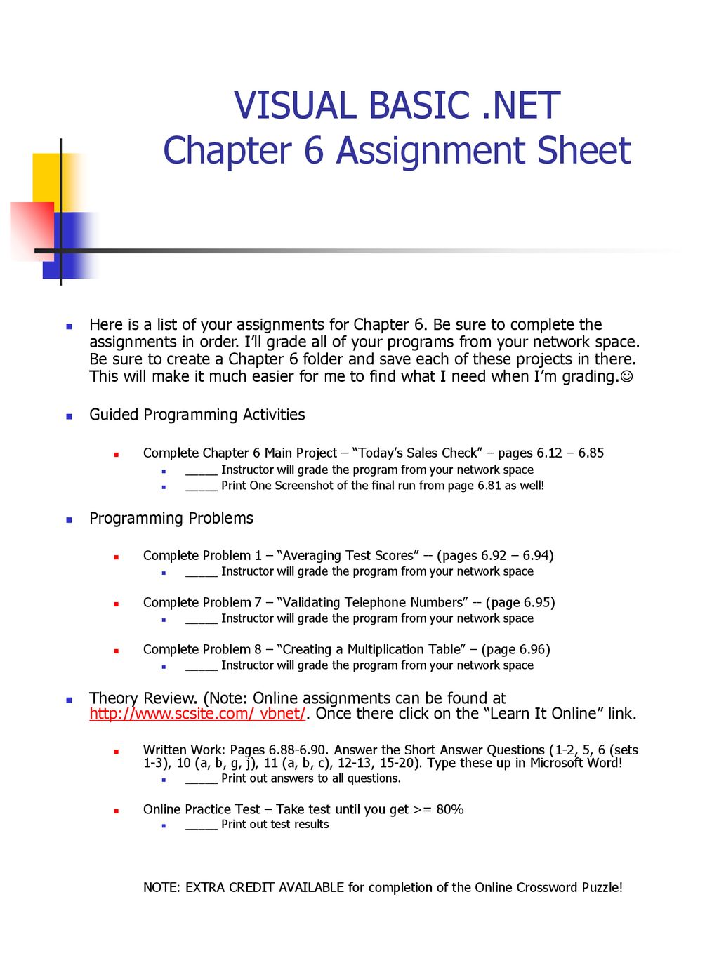 VISUAL BASIC  NET Chapter 6 Assignment Sheet - ppt download