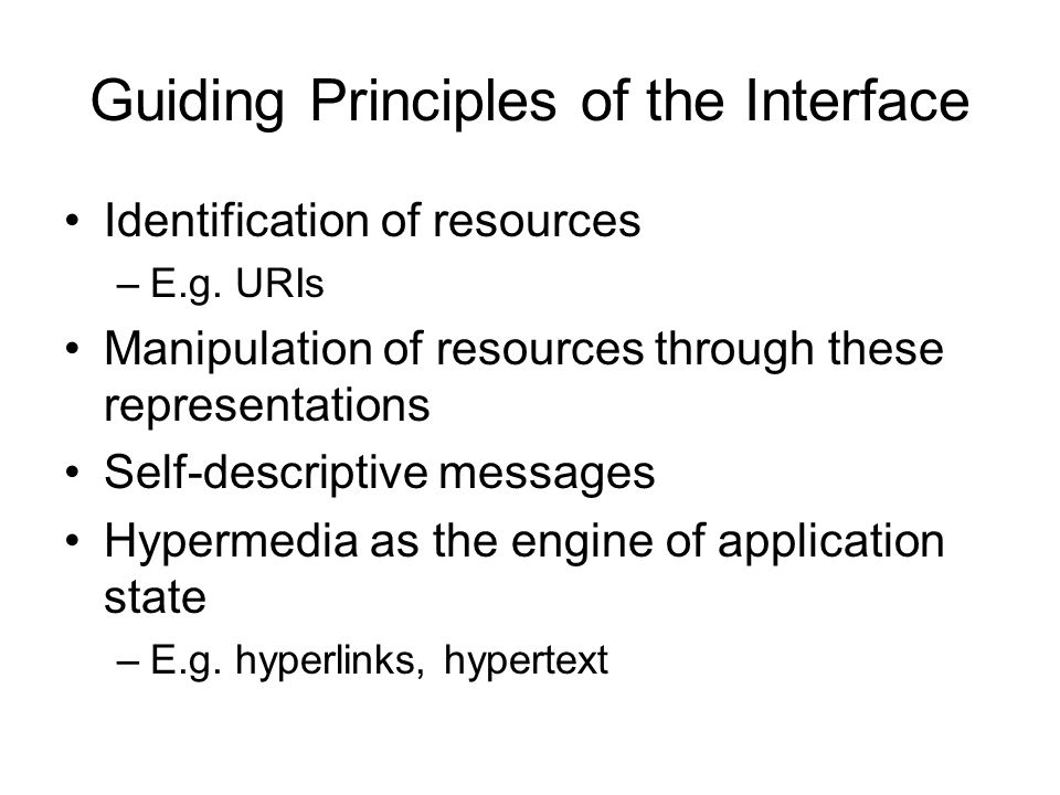 Guiding Principles of the Interface
