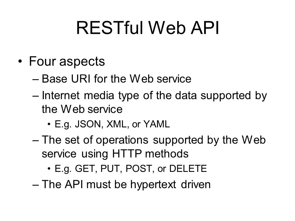 RESTful Web API Four aspects Base URI for the Web service