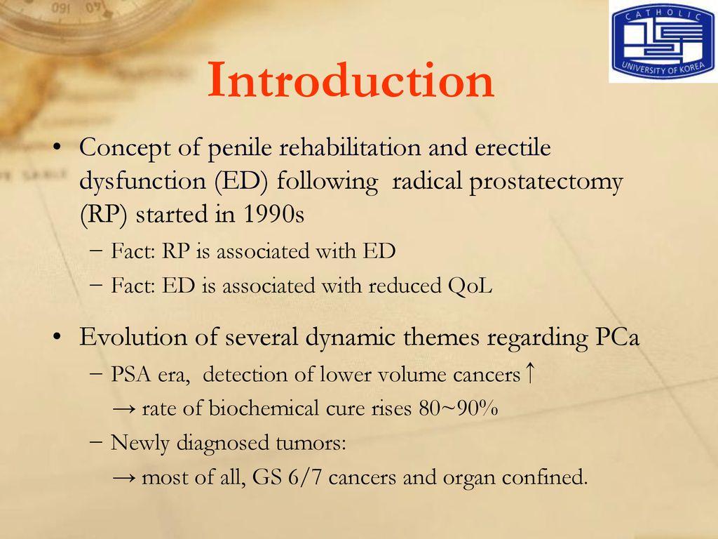 Erectile Dysfunction And Penile Rehabilitation Following Radical
