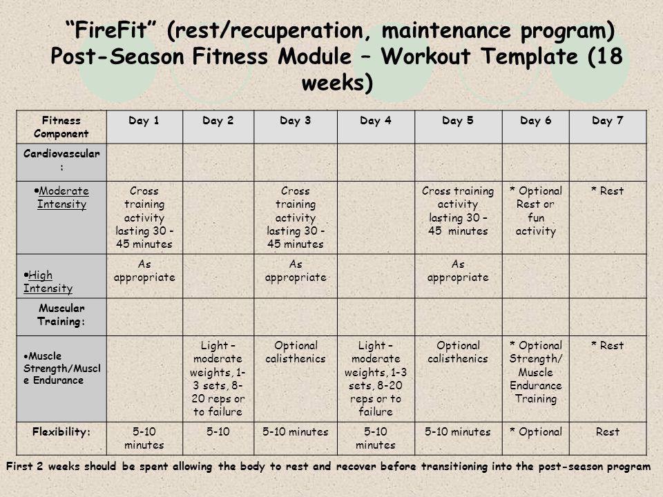post season fitness module workout template 18 weeks