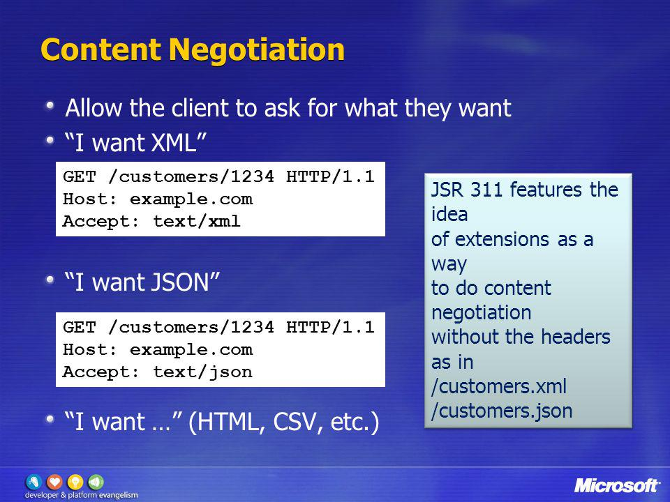 Content Negotiation Allow the client to ask for what they want
