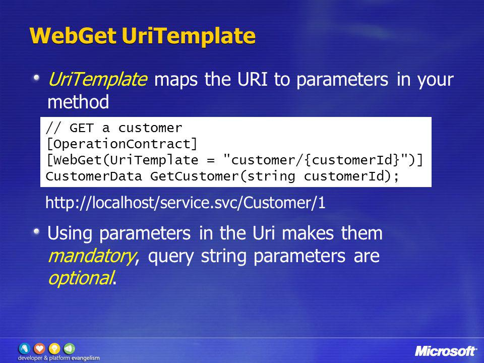 WebGet UriTemplate UriTemplate maps the URI to parameters in your method.