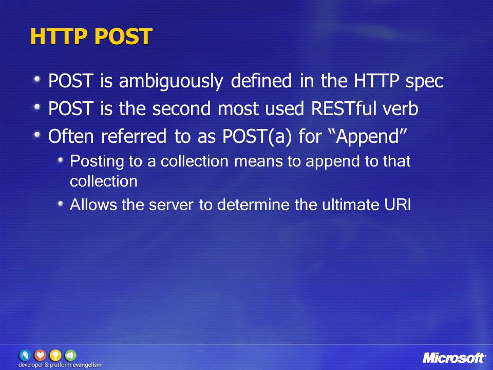 HTTP POST POST is ambiguously defined in the HTTP spec