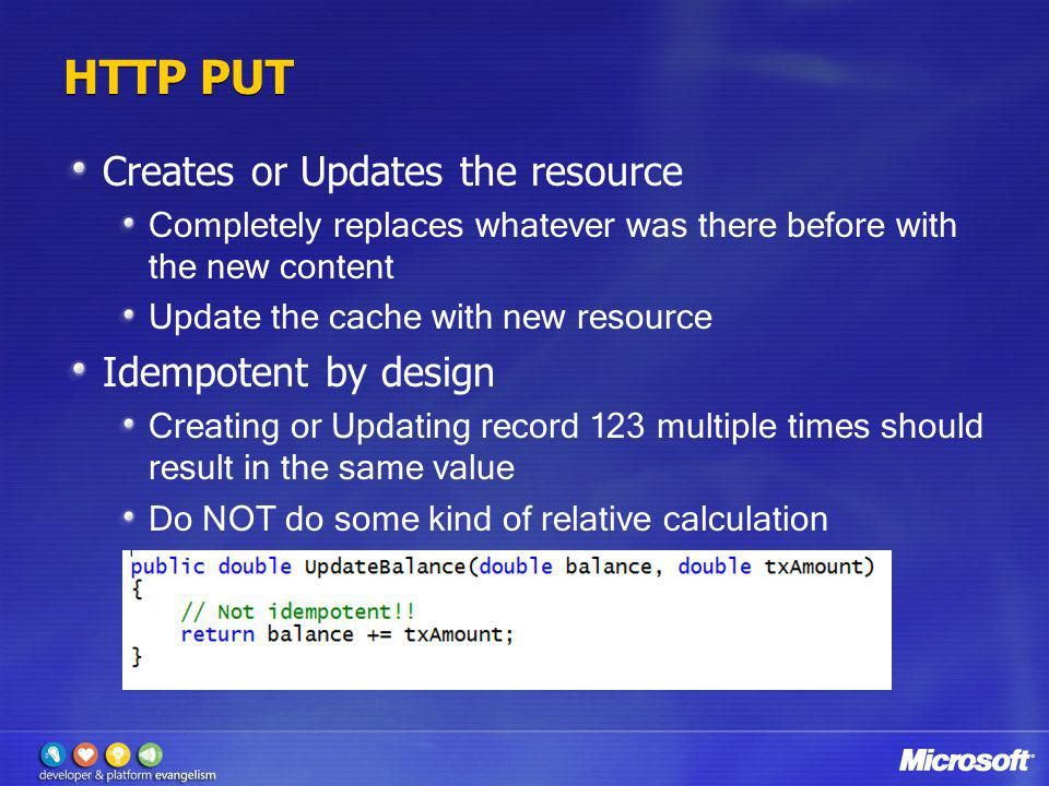HTTP PUT Creates or Updates the resource Idempotent by design