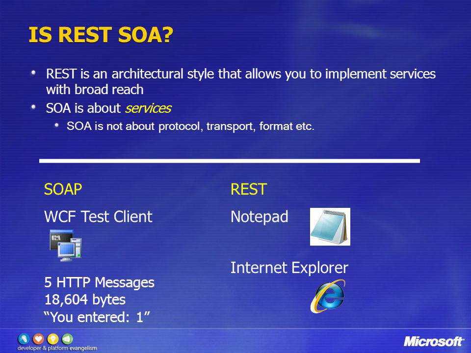 IS REST SOA SOAP REST WCF Test Client Notepad Internet Explorer