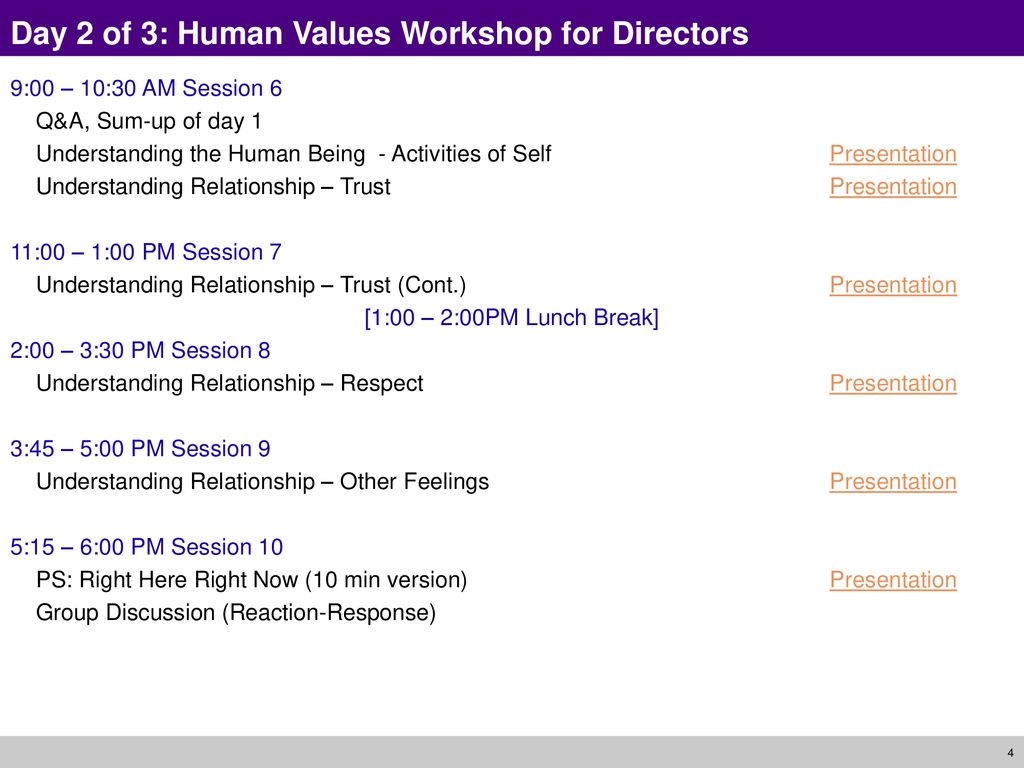 3-Day Information Workshop A Foundation Course in Human