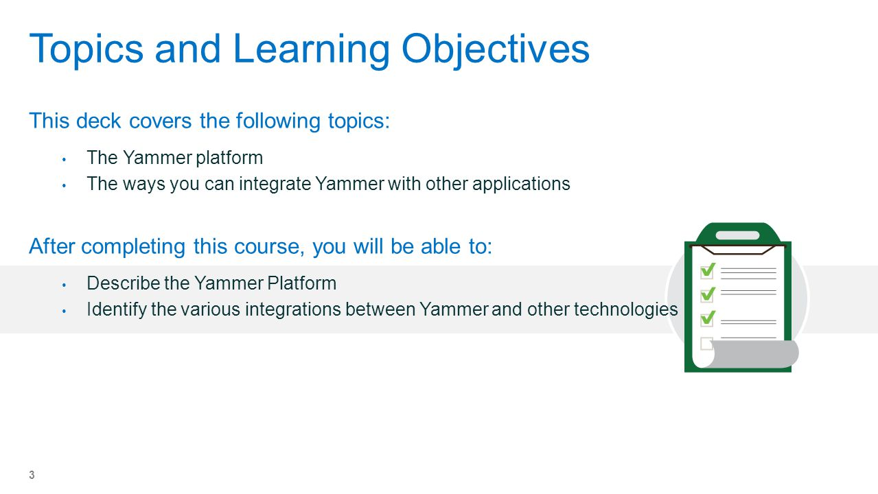 Topics and Learning Objectives