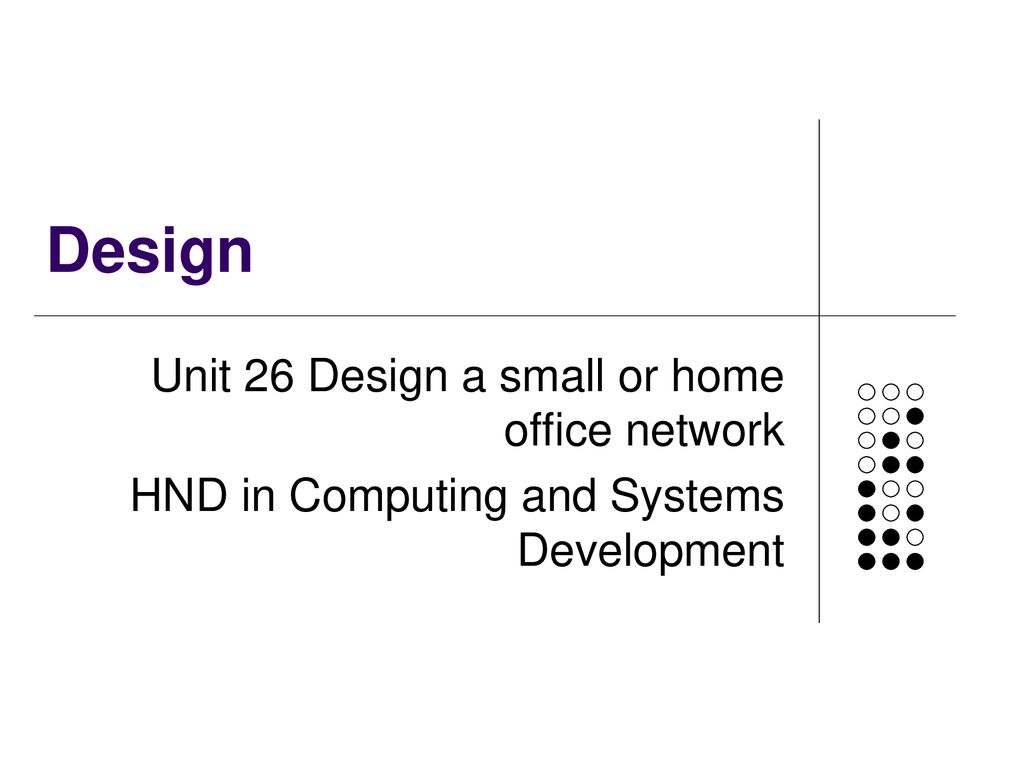 Design Unit 26 Design A Small Or Home Office Network Ppt Download