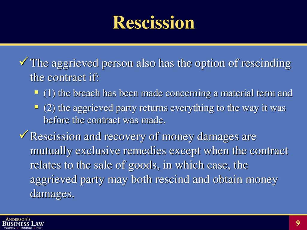 Chapter 20 BREACH OF CONTRACT AND REMEDIES - ppt download