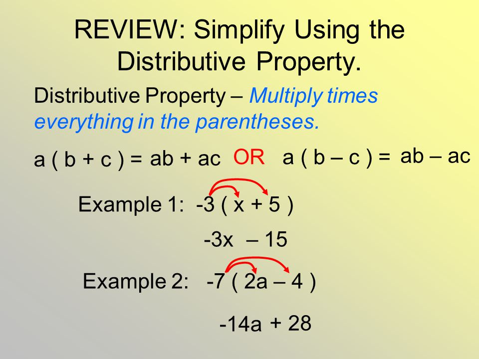 REVIEW: Simplify Using the Distributive Property.